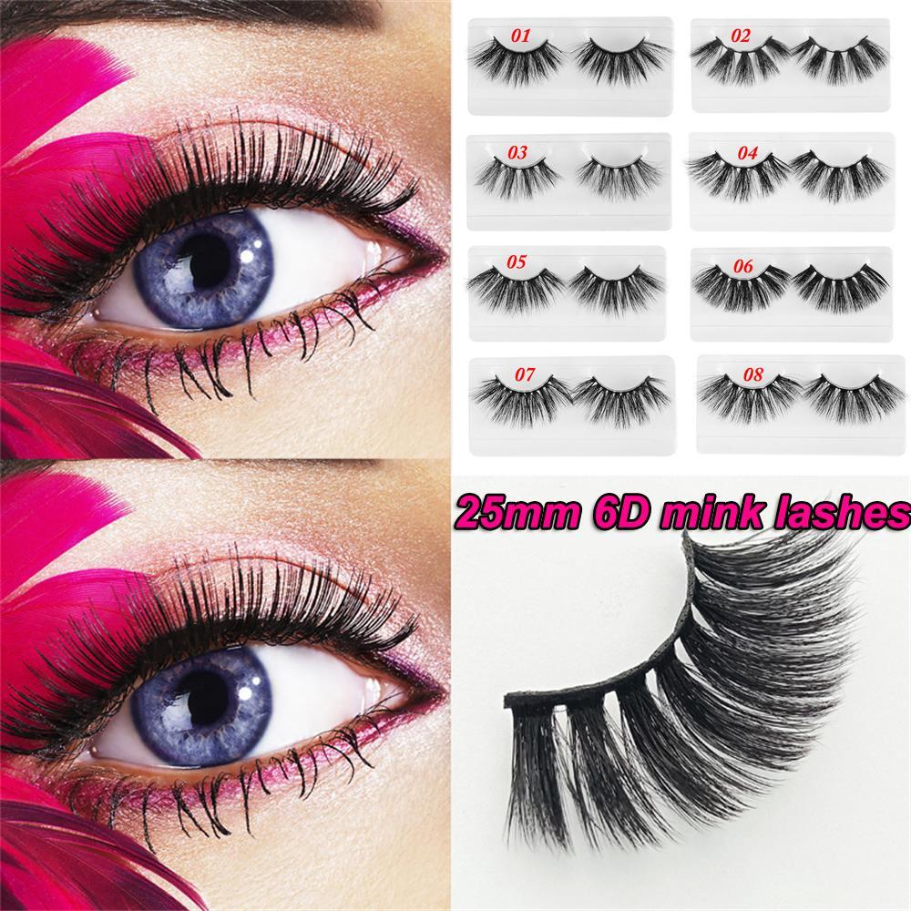 1/2/9 Pair Resuable 25mm Long 6D Soft mink lashes eyelashes big dramatic makeup eyelashes strip thick Wispy Cross false eyelash