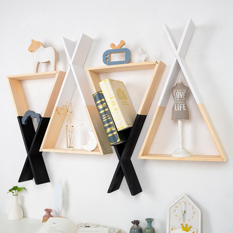 1pc X Triangle en bois étagère murale décorative Accueil étagère pour enfants de filles de garçon Chambre Décoration murale Salon décor en bois étagère T200703