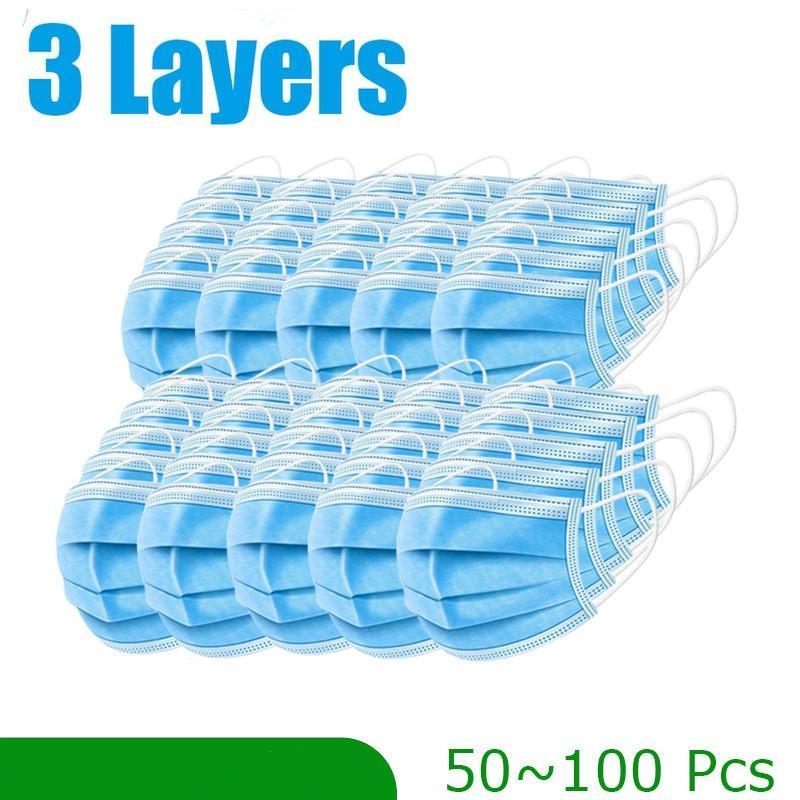 Entrega rápida ! 1000 PC de 3 capas desechables máscara anti-polvo seguras y transpirable Máscaras Máscaras Earloops contra la niebla con la caja
