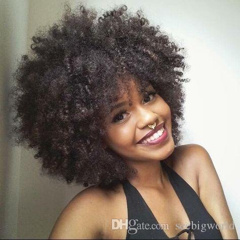 Comprar nuevo estilo rizado pelucas rizadas Ameri africana brasileño del pelo de la simulación humana pelo afro peluca rizada suave en stock