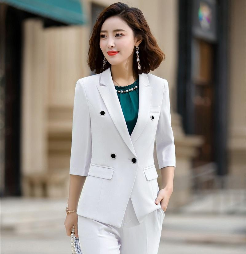 Estate Ufficio Primavera signore Blazer Donne Giacche mezza manica lavoro femminile indossare abiti stili Bianco