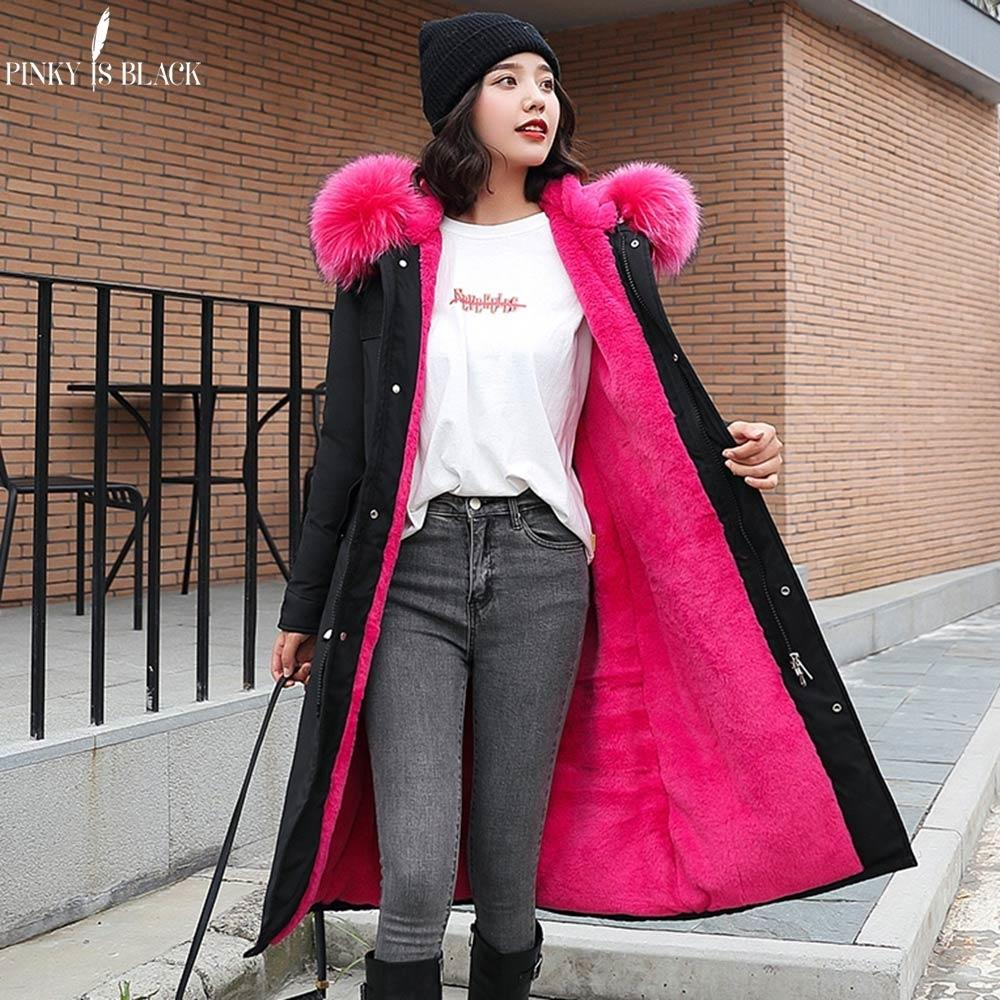 PinkyIsBlack -30 Degrees Snow Wear Long Parkas Winter Jacket Women Fur Hooded Clothing Female Fur Lining Thick Winter Coat Women T190831