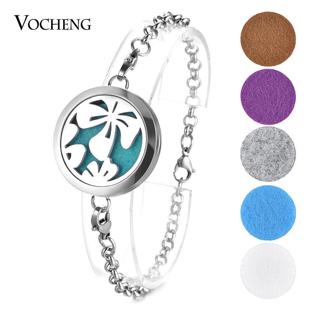 Olio Essenziale Locket Bracciale in acciaio inossidabile 316L braccialetto fiore 2 stili magnetica senza feltrini VA-534