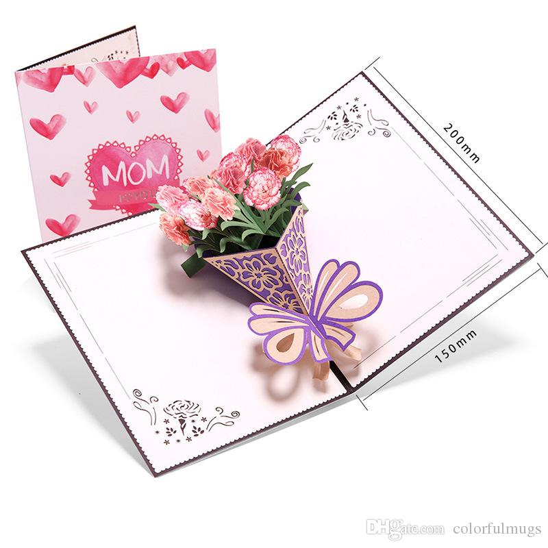 Creative Carnations Bouquet 3D Greeting Card Fashion Flower Handmade Paper Card for Mother Creative Greeting Card for Mother's Day Gift
