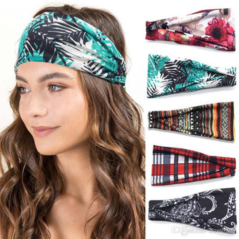 Ladies Sports Yoga Hairbands 30 Colors Striped Floral Hair Bands Boutique Women Big Girls Bohemian Beach Headwear Teens Headbands 060330