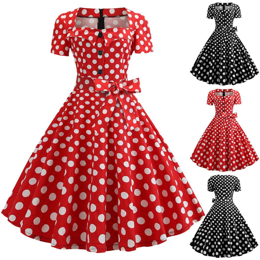 여자 드레스 여름 빈티지 짧은 소매 도트 인쇄 우아한 드레스 패션 단추 활 붕대 파티 댄스 파티 스윙 드레스 vestidos
