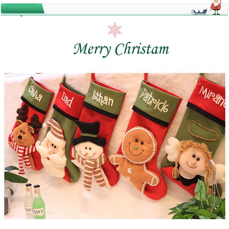 Porte-bas de Noël mignonne de partie Ornement en pain d'épice Hanging Tree belle décoration Coton Bas Sac cadeau