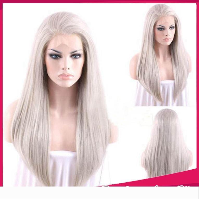 Longa reta de seda sintética cinza peruca dianteira do laço de prata macia cinzenta Natural da linha fina resistente ao calor de cabelo sintético Mulheres Perucas
