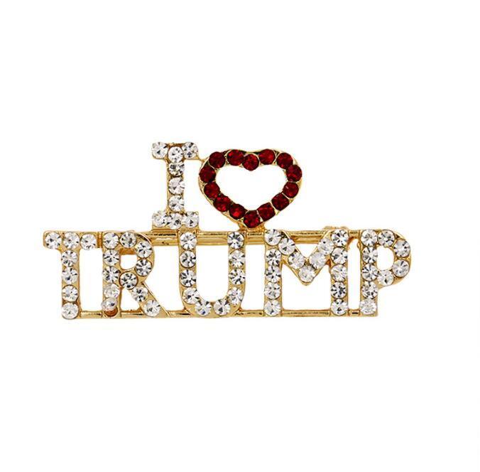 """Cristallo Trump spilla di strass Glitter Spille cuore rosso Lettera """"I Love Trump"""" Pin delle ragazze delle donne del cappotto del vestito dei monili del partito di favore GGA3143-6"""