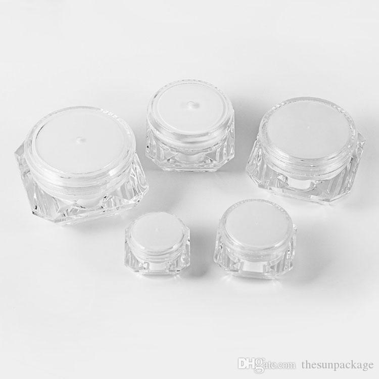 Leerer kosmetischer Container 5G 10G 15g weißer Kunststoff-Creme-Glas-Diamant-Probe-Jar-kosmetische Verpackungsflasche