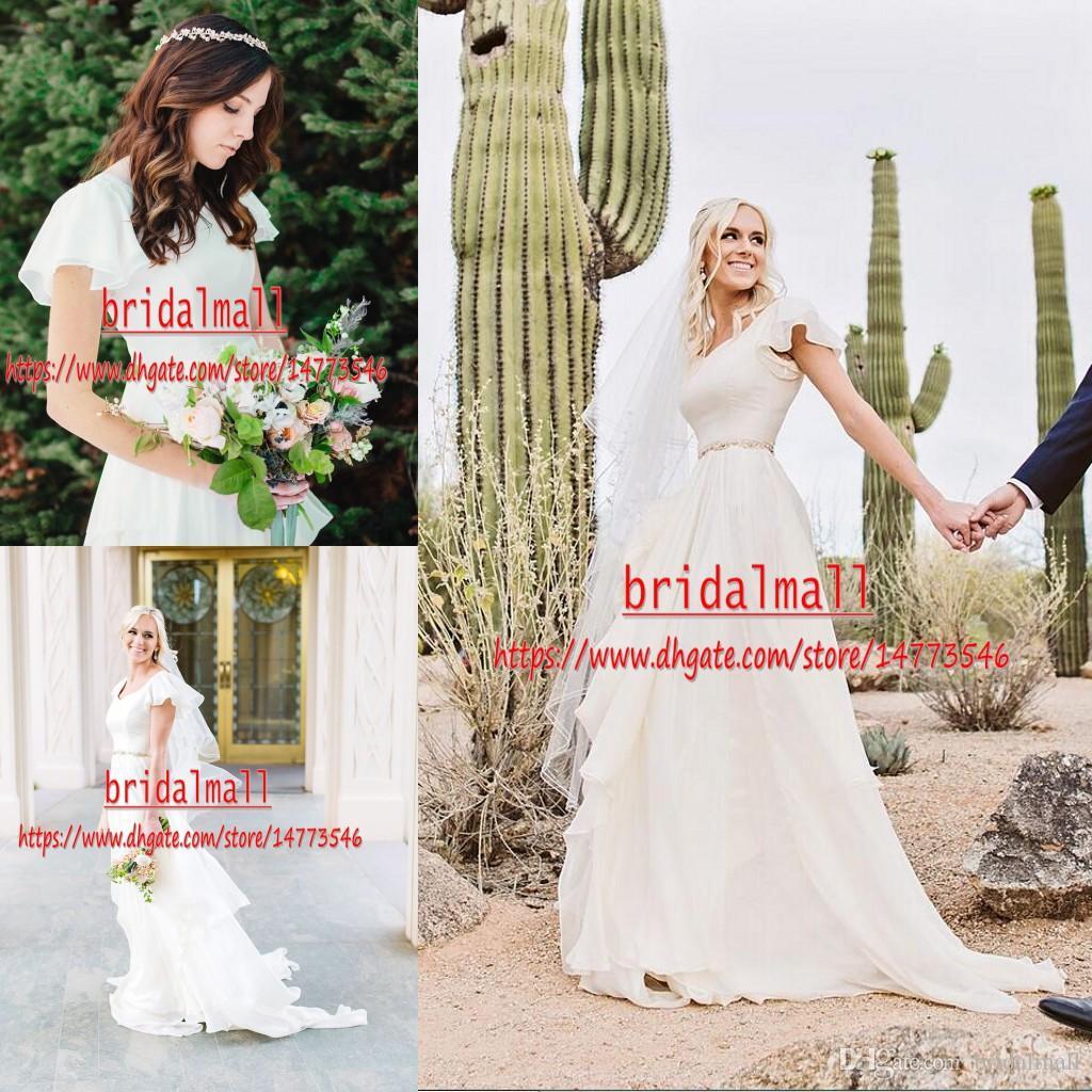 Flowy Chiffon Boho Wedding Dresses 2019 Beach Short Sleeves Beaded Belt Temple Bridal Gowns Square Neck Country Informal Reception Dresses