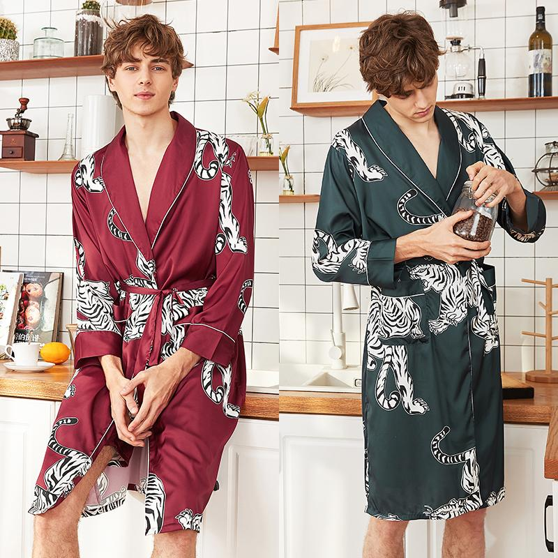 choose best attractivedesigns new lower prices 2019 Spring And Autumn New Long Sleeve Robe Men'S Silk Bathrobe Morning  Coat Dressing Gown Men'S Kimono Lounge Wear Men From Housecoat, &Price; |  ...