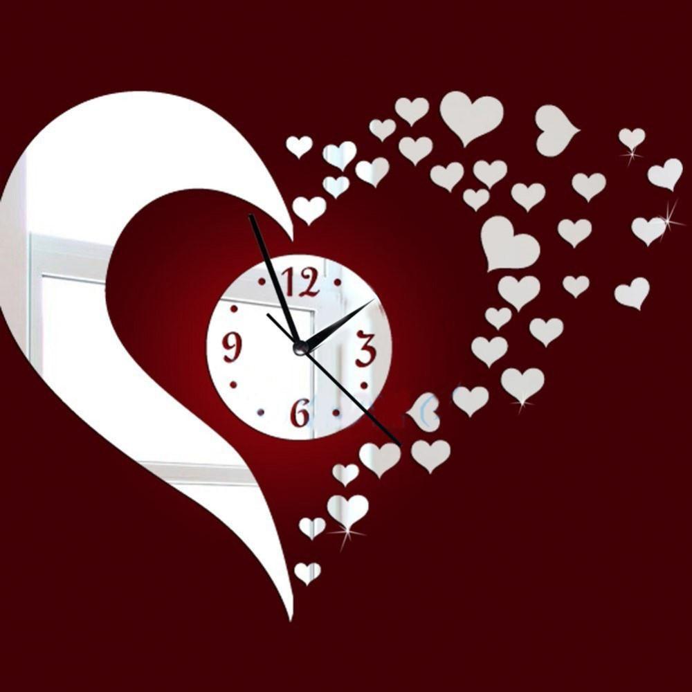 New Mirror Lovely Hearts Wall Art Clock Decal Miroir bricolage mur Montre sécurité Nouveauté Accueil Décoration Horloges Enfants Décoration d'intérieur Y200110
