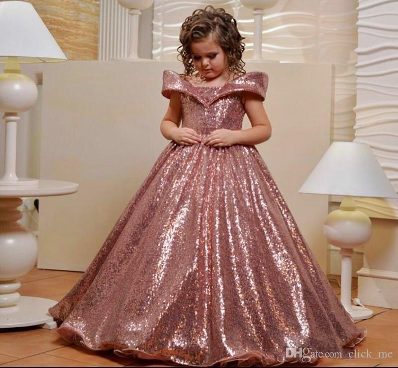 Rose Gold Sequins Flower Girls Dresses For Wedding Off The Shoulder Cap Sleeves First Communion Dress Custom Made Girls Pageant Gowns