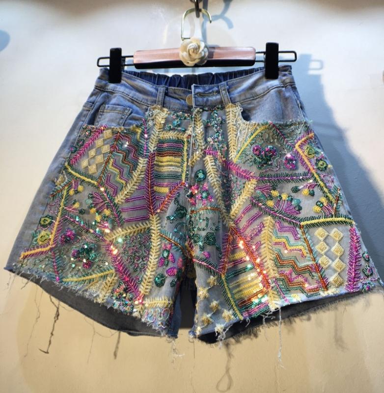 Harajuku Jean Court Femme 2020 Été Nouvelle clouté couleur perles Sequin Mesh taille haute jambe large Jeans Shorts Pantalons Femme Hot