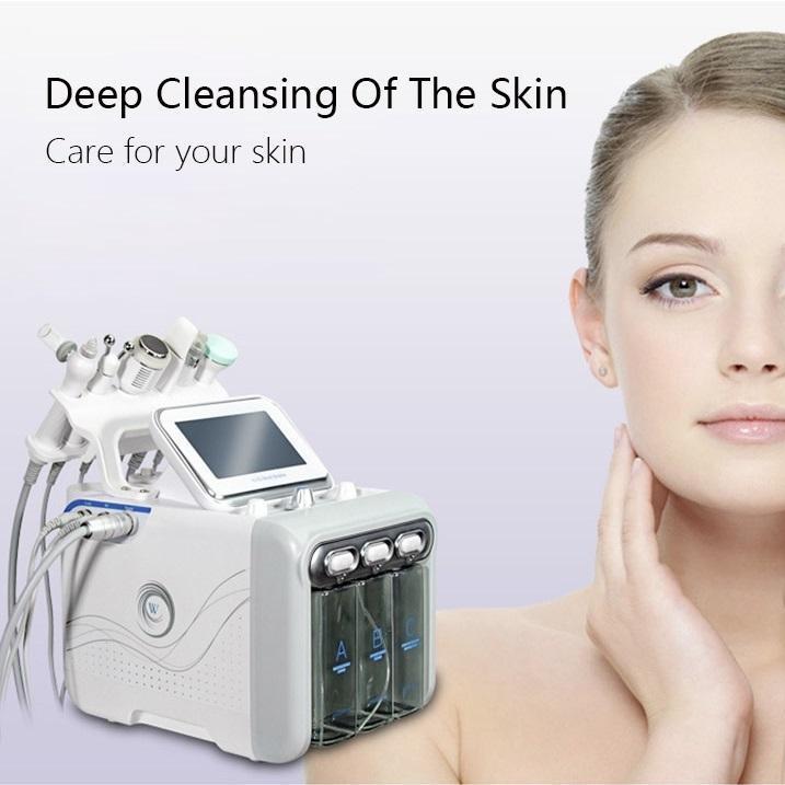 6 em 1 H2 O2 hidra oxigénio facial dispositivo de limpeza facial com equipamento de beleza bio levantamento de cara rejuvenescimento da pele branqueamento
