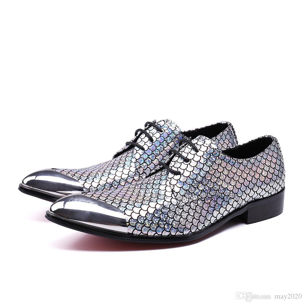 New Business Office Men Dress Shoes Man Fish Scales Leather Shoes Wedding Shoe Male Flats Loafers Shoes