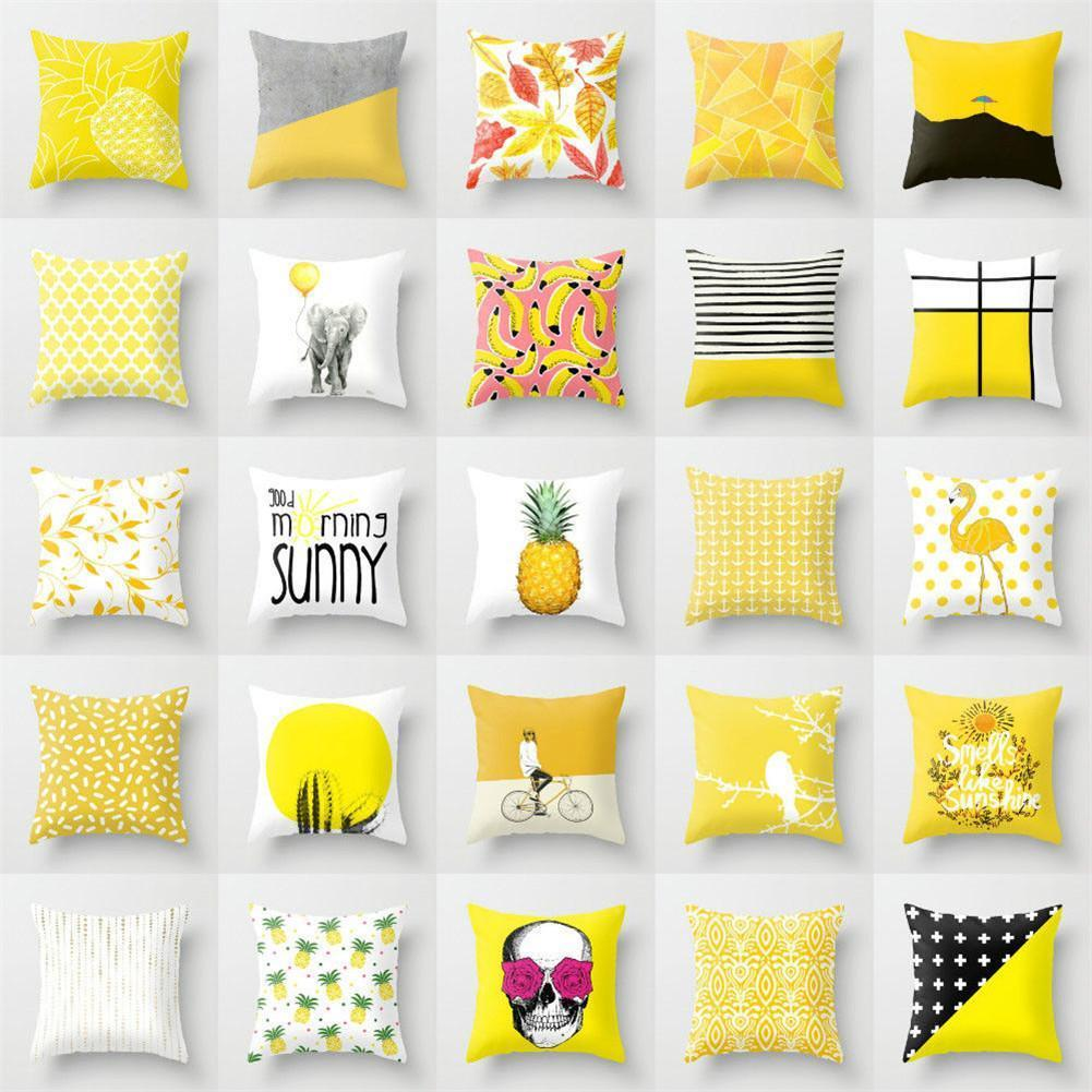 Polyester Cushion Cover Yellow Based Printing Graffiti Home Office Coffee Shop Seat Pillow Covers Decorative 45CM*45CM Wholesale