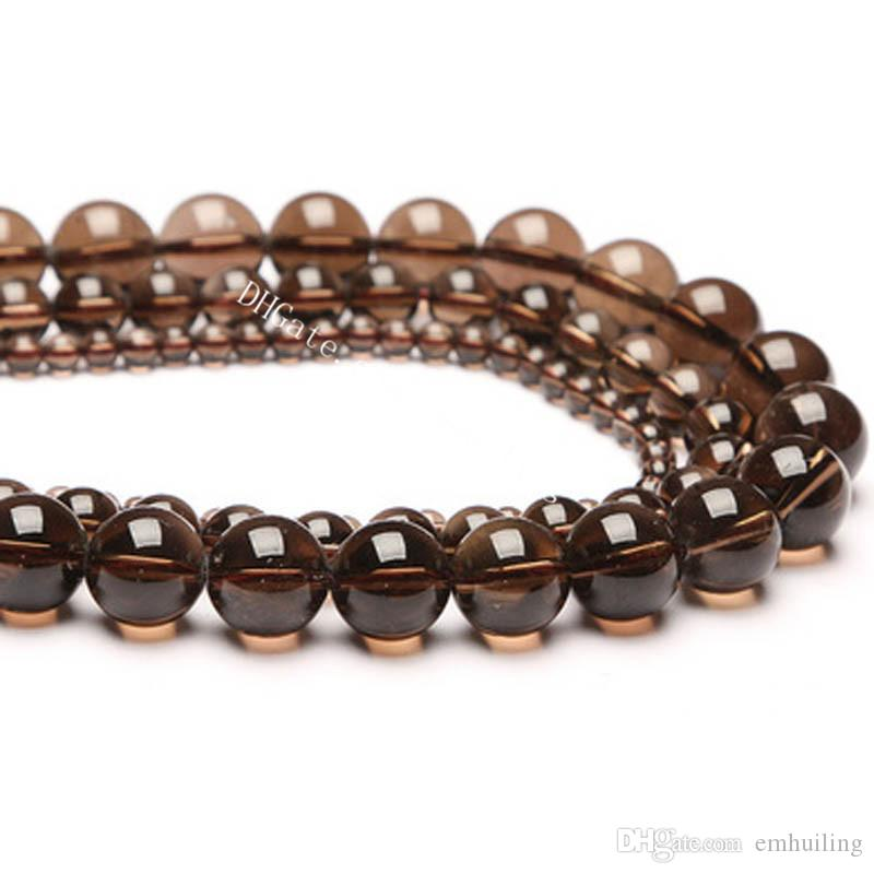 10 Strands Excellent Quality Genuine Natural Smoky Quartz Beads Round Center Drilled Brown Crystal Quartz Loose Beads Size 4-14mm Wholesale