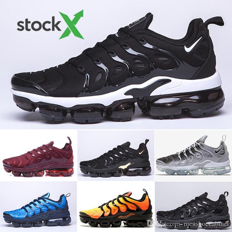 2019 TN PLUS кроссовки для мужчин Женщины черный скорость красный белый Антрацит ультра белый черный 2019 лучшие дизайнеры кроссовки 36-45 KKIT2