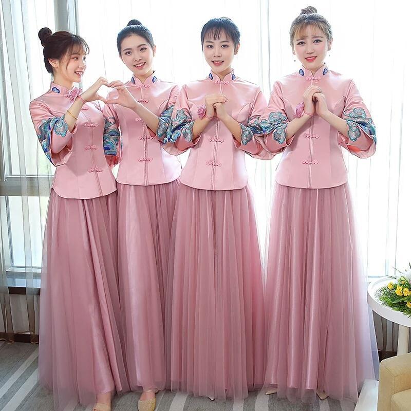 Chinese Bridesmaid Dress 2018 Winter New Collared Pink Bridesmaid Group  Bride Wedding Long Sister Skirt Show Thin Female Lilac Bridesmaid Dresses