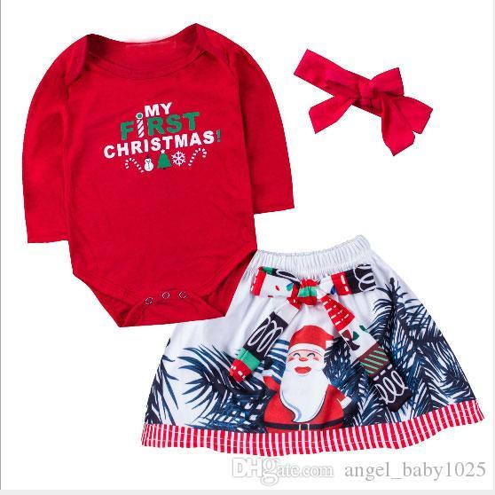 Vêtements pour enfants infantiles Set filles Noël trois pièces à manches longues barboteuse + chapeaux + jupe courte