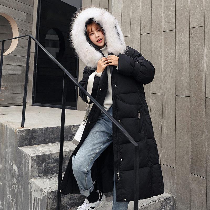 Winter Faux Fur Collar Capuz Mulheres Parka Coat Maxi Longo Down Algodão Algodão Jaqueta Feminina Preto Casual Senhoras Outwear