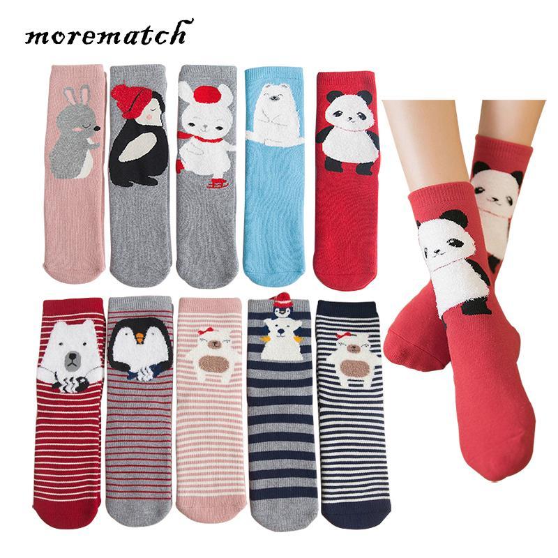 Morematch 5 Çift Kadınlar Kalınlaşmak Hayvan Çorap Karikatür Panda tavşan Penguen ayı Desen Pamuk Çorap 2 Stilleri Seçmek için