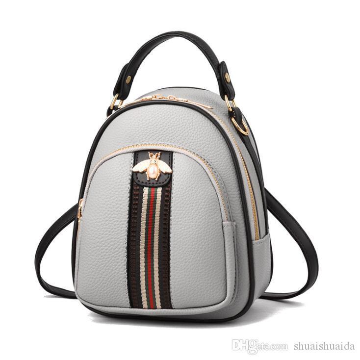 2019 Alta calidad PU Mochila Ocio mochila bolsa de viaje bolsa de dama Pequeña capacidad grande Bolso de mujer Bolso estilo mochila Bolsos de moda Mini D47