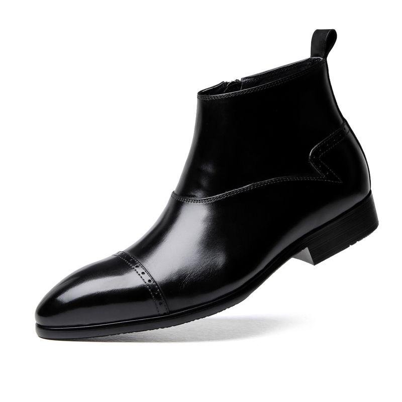 Compre Botas Negras Para Hombre Del Tobillo Del Dedo Del Pie Puntiagudo Moda Botas De Vestir De Cuero Genuino Zapatos De Negocios Masculinos A 7889