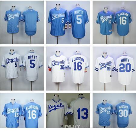 Men # 5 BRETT 13 # 16 # PEREZ B.J 20 # 25 # BLANCO MORALES 30 azules calientes camisetas # VENTURA blancas Retro Noticias de béisbol