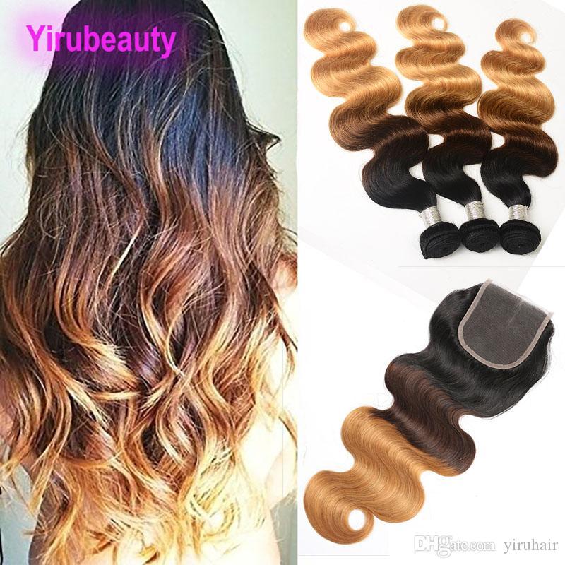 Бразильские девственные волосы OMBRE 1B 4 27 Волна тела 100% Необработанные человеческие волосы 3 Пакета с 4x4 Кружева