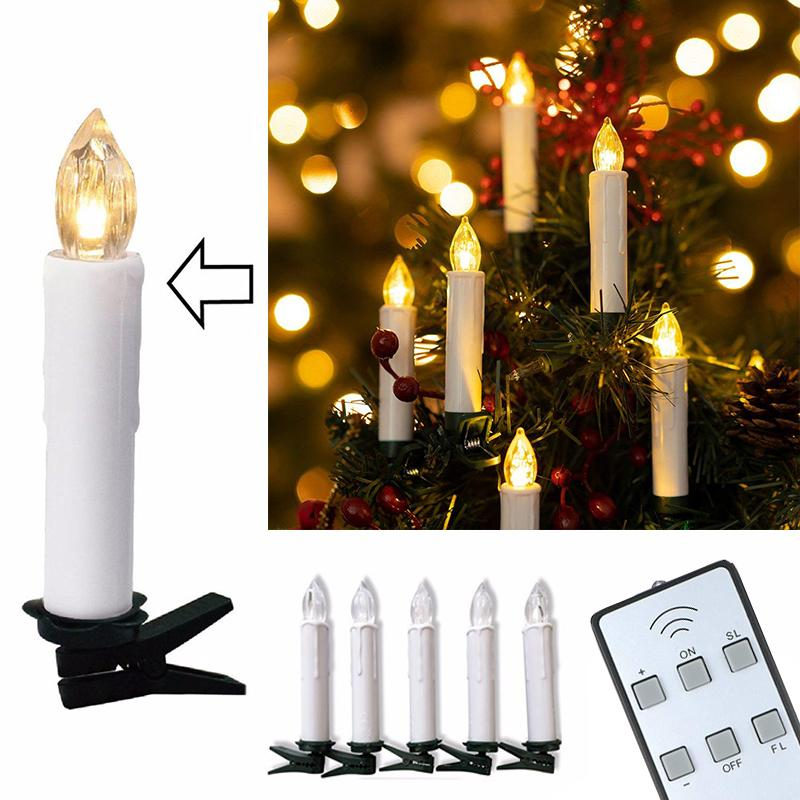 10pcs LED Battery Candles Wireless Remote Control Tealights Operated Light for Hallowmas Christmas Party Wedding Holiday Y200109