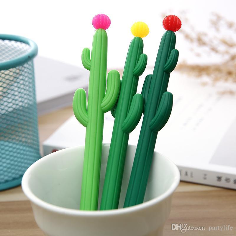 Creative Cute Cactus Plants Gel Pen Kawaii Stationery Office Material Escolar Papelaria School Supplies Pens For Kids Gift