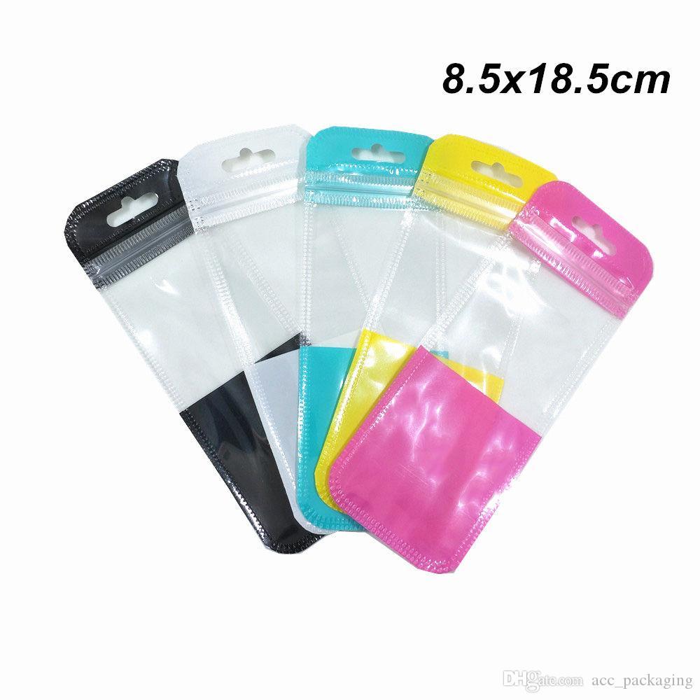 100pcs 5 cores availible pacote plástico Sacos com Pendure Buraco Charger Hard Disk Zipper embalagem Bag Crafts Retail Zipper bloqueio Pacote Pouch