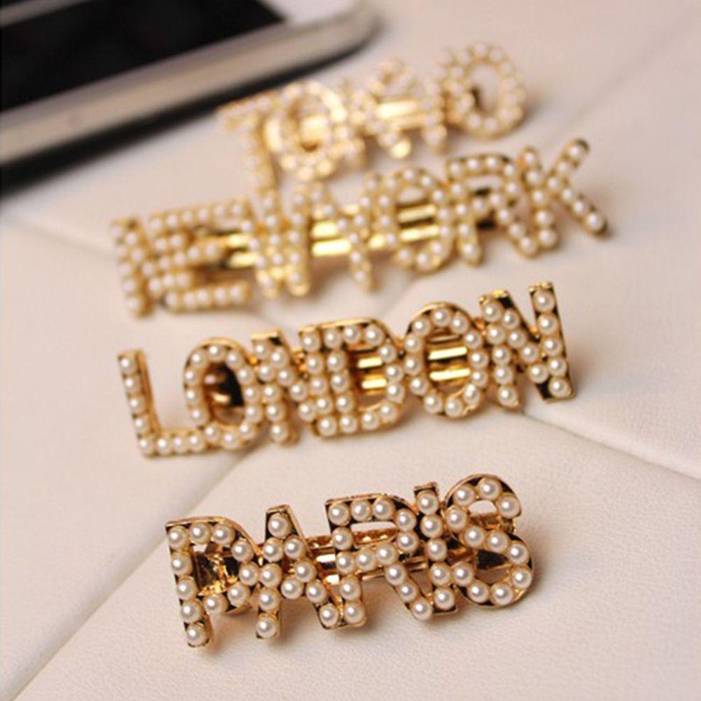 Korean Pearls Letter Hair Clips for Women Girls Barrettes Word New York Paris London Milan Hair Combs Pins Sticks Accessories