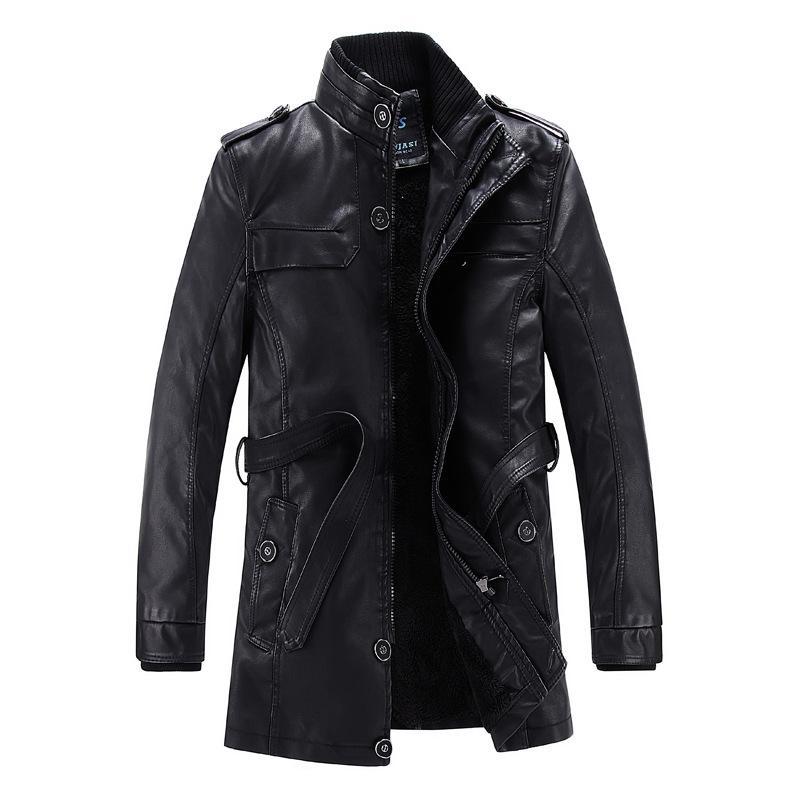 Зимняя Европа и Америка Мужское кожаное пальто Slim Fit стенд воротник Матовый средней длины искусственной кожи PU кожаная куртка