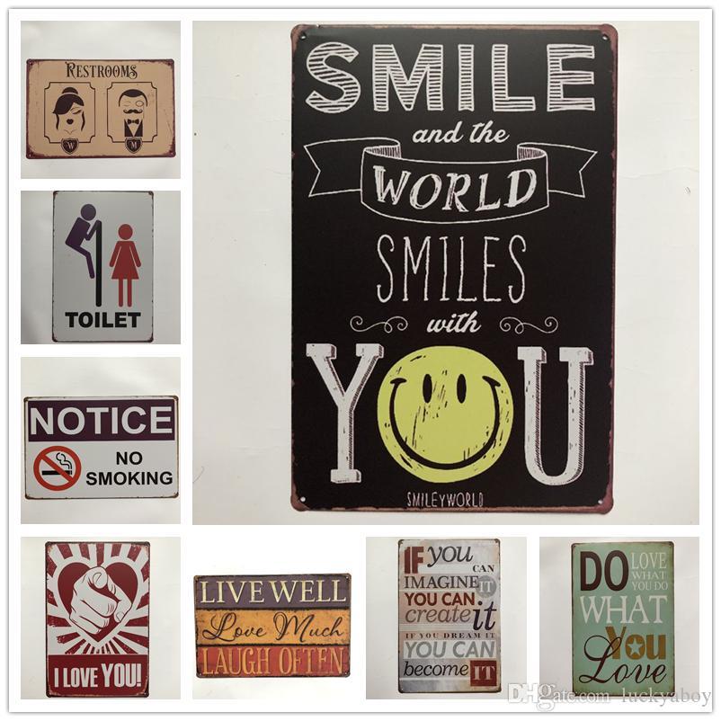 Notice Restroom Toilet Smile Vintage metal Retro Tin sign Art wall decoration House Cafe Bar Vintage Metal craft