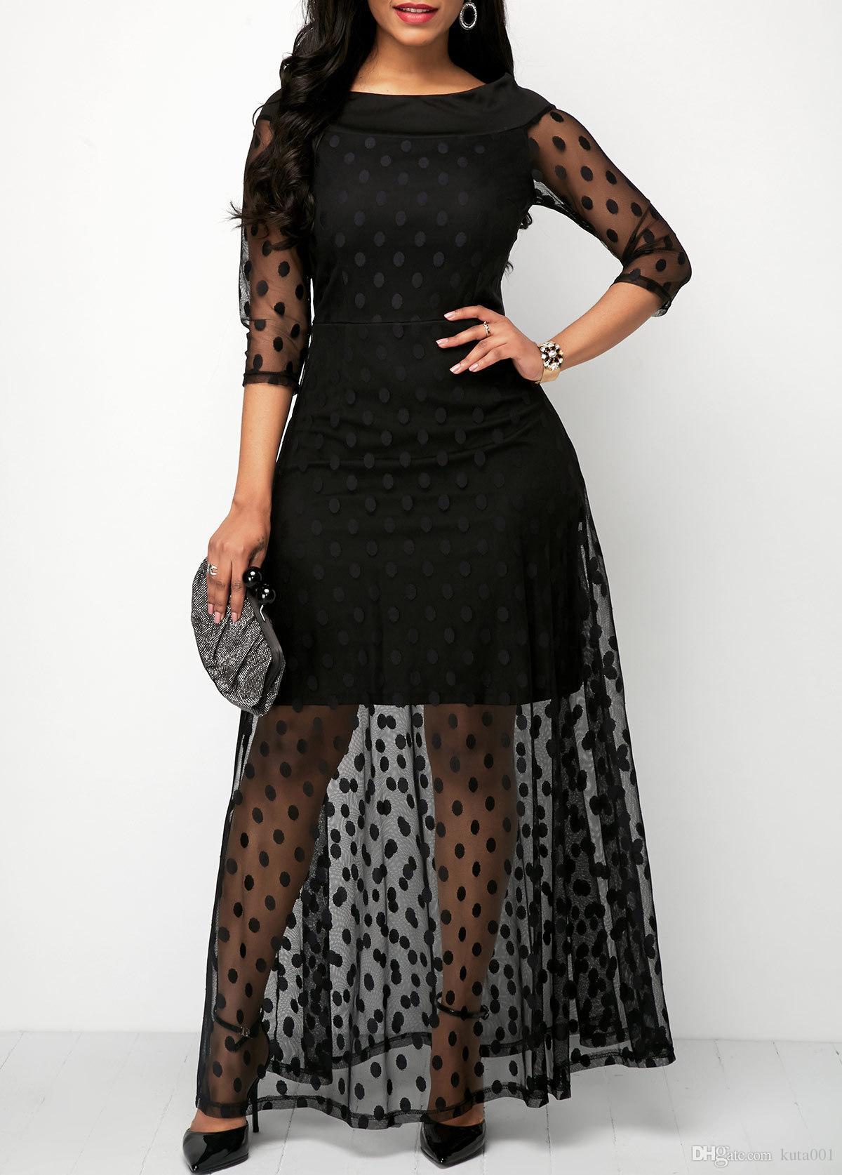 Otoño vestido de las mujeres del verano de Boho del estilo del lunar ver a través de malla vestidos largos para las mujeres Venta elegante ropa de fiesta vestidos de mujer caliente