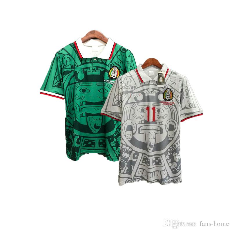 WM 1998 Retro Mexiko Fußball Trikots Zidane Henry Vintage Mexiko Campos Hernandez Futbol Camisa Fußball Trikot Kit
