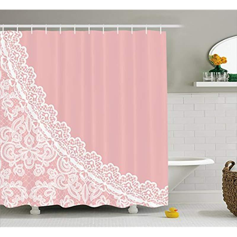 2020 Vixm Pink And White Shower Curtain Lace Old Fashioned Border