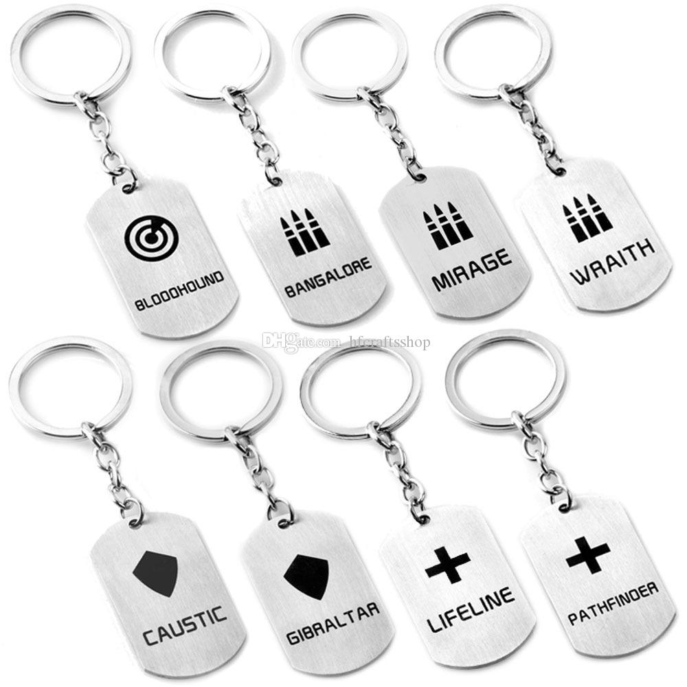 10 adet / grup Apex Efsaneleri Anahtarlık Oyunu Rakamlar Anahtar Yüzükler Paslanmaz Çelik Kazınmış Logo Anahtarlıklar Araba Anahtar Tutucu Parti Hediye Erkekler ve Kadınlar için