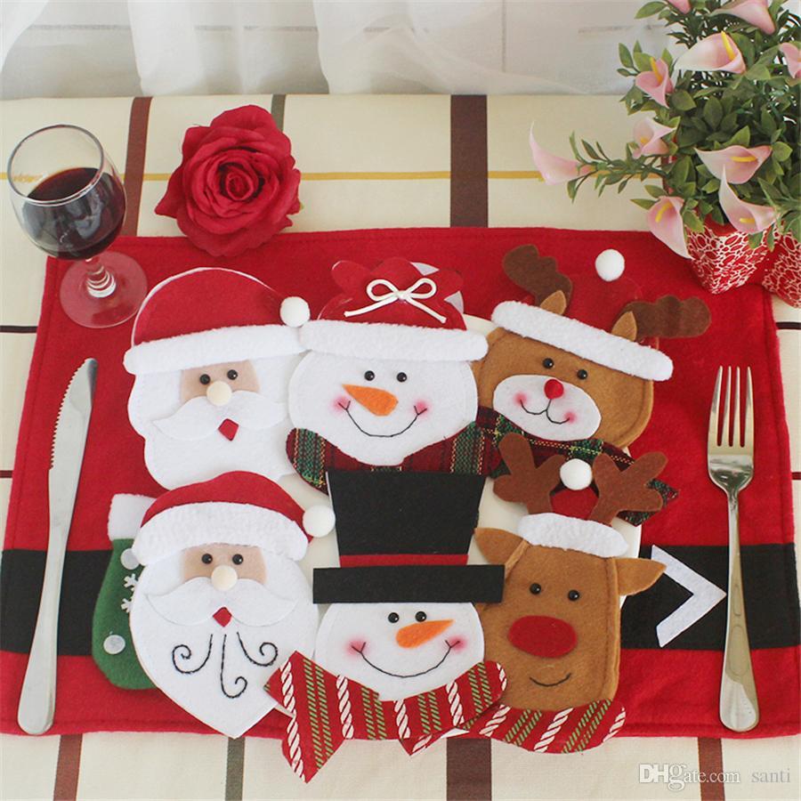 Weihnachtsschmuck Silberhalter Sankt-Schneemann Elk-Löffel-Gabel-Messer-Taschen Weihnachten Besteck Tasche Dinner Tischdekoration JK1910