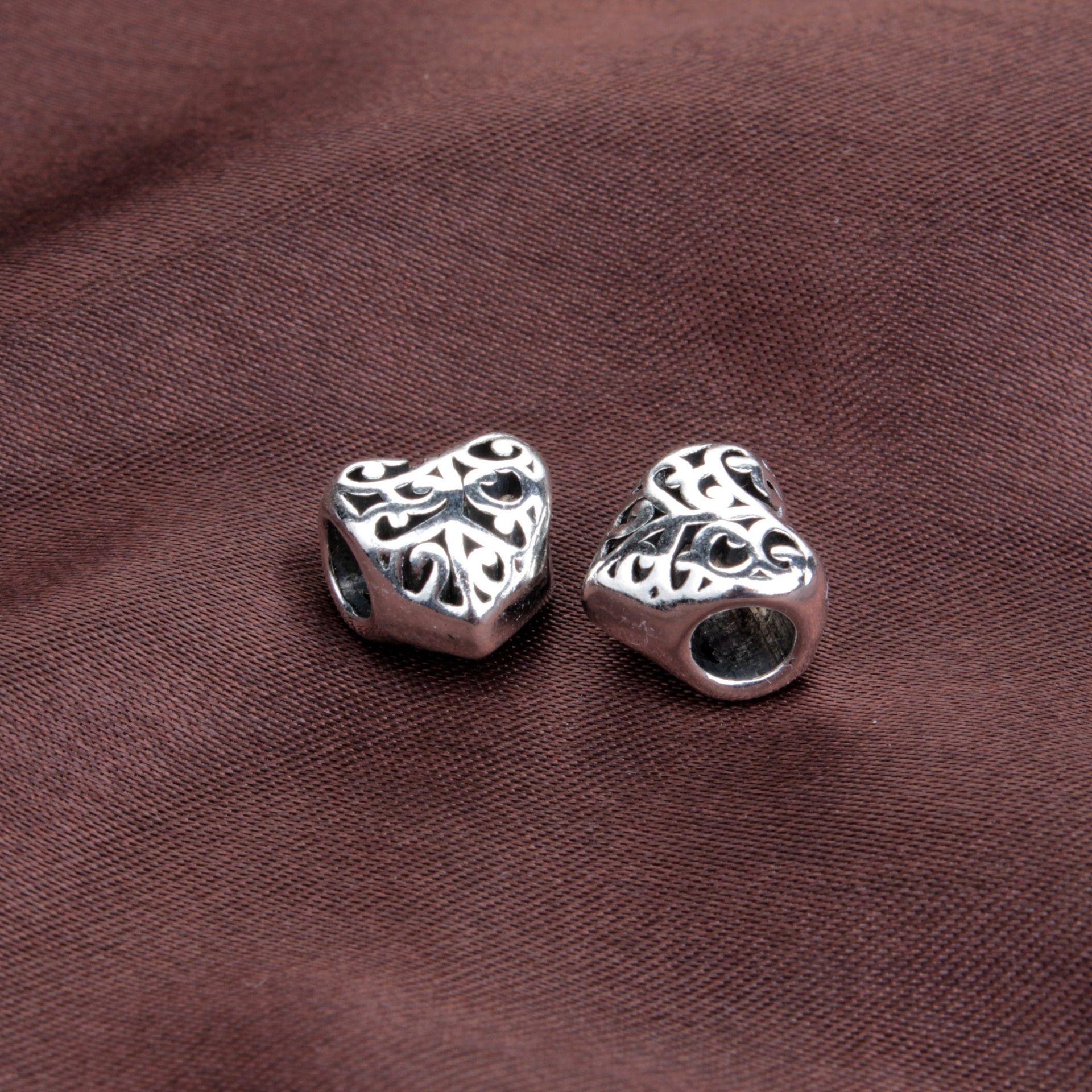 coeur de pêche en alliage tache de perles creux gros trou bricolage grand accessoires Perle Bracelet