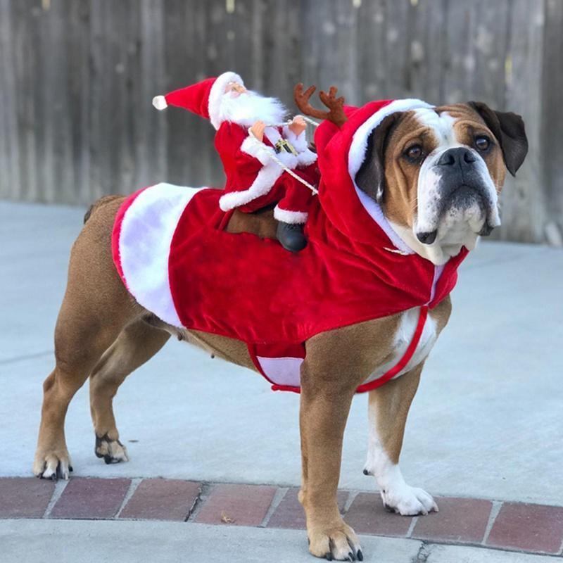Weihnachtshundemantel Weihnachtsmann Cosplay Outfit für Weihnachten Karneval Pet Kostüme Bekleidung Partei Verkleidung Kleidung
