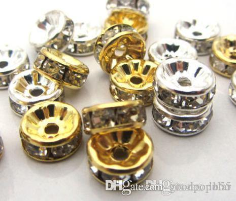 8 мм 600 шт. / лот смешанное золото и посеребренные белый прозрачный кристалл горный хрусталь распорка бусины, ювелирные изделия выводы Rondelle свободные бусины y4242