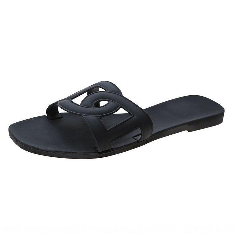 Verano nueva estudiante al aire libre sandalias planas de los zapatos de moda en línea sandalias de cerdo rojo de los zapatos planos de las mujeres de la nariz