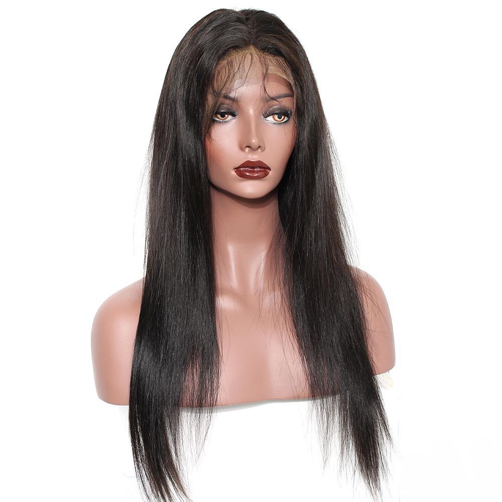 Pelucas llenas del cordón del pelo humano con el pelo del bebé Pelucas rectas brasileñas del pelo humano de la densidad del 130% negras para las mujeres Prosa Remy