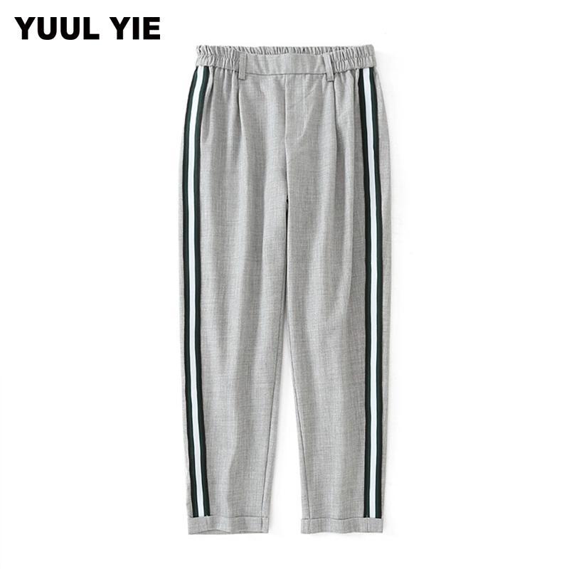 Aoemq Kadınlar Zarif Yan Şerit Pantolon Elastik Bel Yeşil Siyah Bayanlar Sonbahar Rahat Streetwear Moda Pantolon Mujer Y19071701
