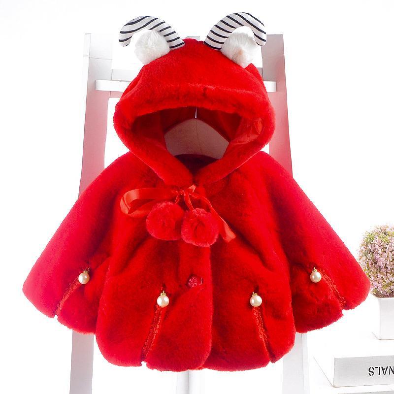 Winter Cloak Coat Baby Girls Cartoon Thicken Plus Fleece Sheep ear Hooded Long Sleeve Warm Outwear For Girl